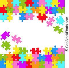 Puzzles - Vertical background with many colored puzzles