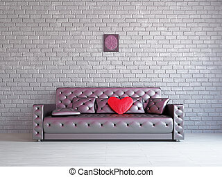 A romantic room with a sofa near the wall