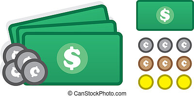 Money Icons - Various money icons including cash and coins...
