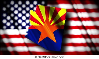 Arizona 03 - Flag of Arizona in the shape of Arizona state...