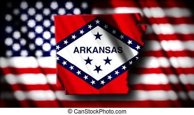 Arkansas 03 - Flag of Arkansas in the shape of Arkansas...
