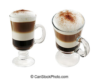Multi-layered coffee in two foreshortened on white isolated...