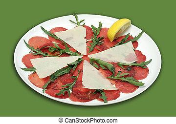 Beef carpaccio - Cold snack - Beef carpaccio with parmesan...