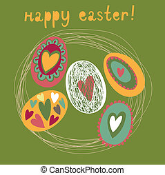 Colorful Easter card - backet with eggs