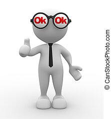 Ok - 3d people - man, person with an eyeglasses and ok