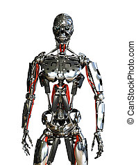 Robot Slave - A chrome robot stands ready to do your bidding...
