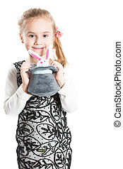 beautiful girl child with toy on white background isolated