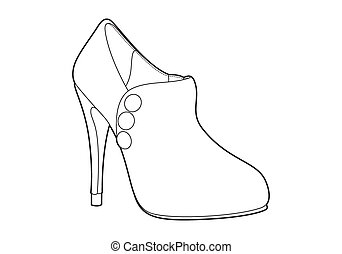 women's shoes on white background (outline)