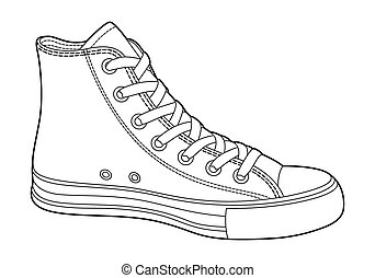 Sneakers - sneakers on white background (outline)