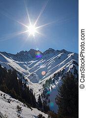 invierno, montañas, Ak, Bulak, Almaty, Kazakhstan,...