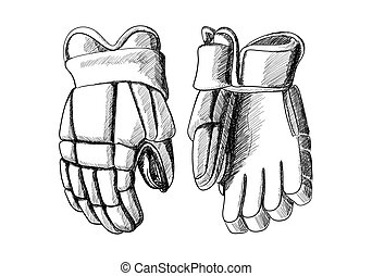 Hockey gloves on white background in sketch style
