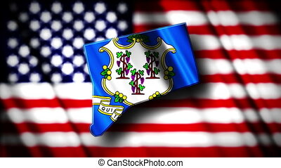 Connecticut 03 - Flag of Connecticut in the shape of...