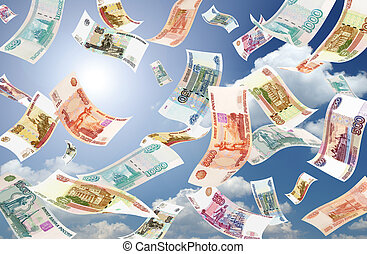 Falling Roubles sunny sky background - Falling Roubles on...