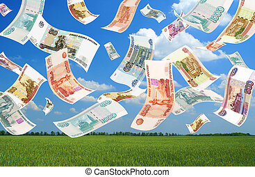 Falling Roubles field background Conceptual business image...