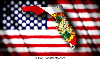 Florida 03 - Flag of Florida in the shape of Florida state...
