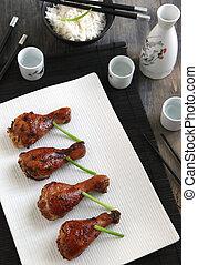 Asian-marinated, cocido al horno, pollo