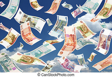 Falling Roubles sky background - Falling Roubles on sky...