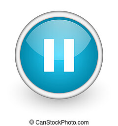 pause blue glossy icon on white background - blue circle...