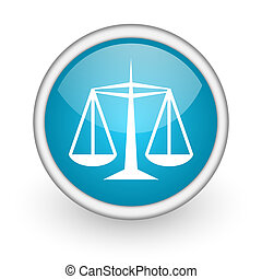 justice blue glossy icon on white background - blue circle...