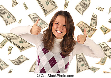 Successful girl on falling dollars background