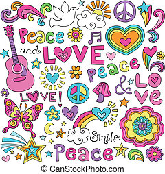 Peace, Love, Music Groovy Doodles - Peace Love and Music...