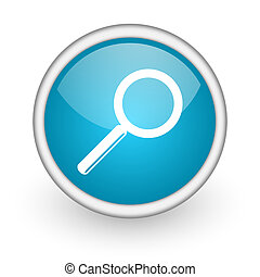 search blue glossy icon on white background - blue circle...