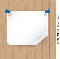 Wooden background with white note paper