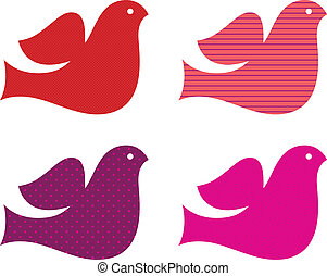 Valentine doves collection isolated on white ( pink & red )...