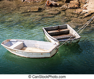 Two Rowboats - Two small dory tied to a wharf in Bermuda
