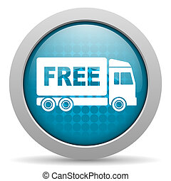 free delivery blue glossy icon on white background - blue...