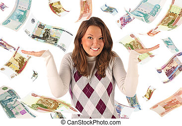 Confused girl on falling roubles background