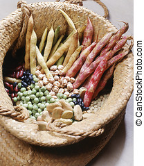 Basket with dried legumes - Basket with a selection of...