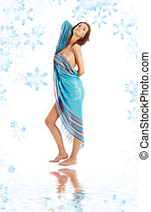 girl with blue sarong on white sand - naked girl with blue...