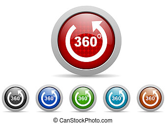 360 degrees panorama glossy web icons set on white...