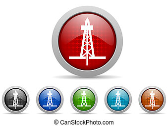 drilling glossy web icons set on white background - colorful...