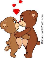 Bear couple kissing