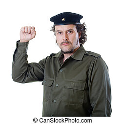 Guerilla raising fist - Mid-aged man in authentic 1950s60s...