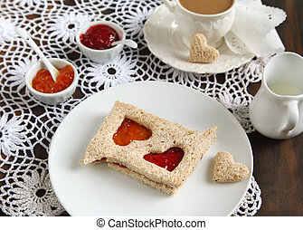 Sandwiches with jam