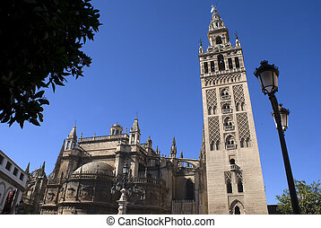 Cathedral of Sevilla, Spain - Tower of the famous Sevillan...