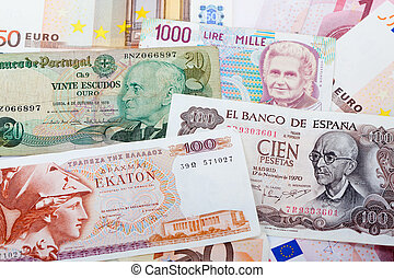 moneda,  portugues, español, griego, anterior, italiano