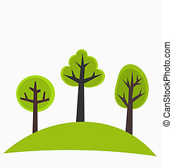 Trees on hill - Trees on the hill - green vector...