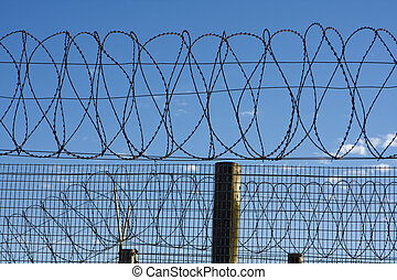 Prison Barbed Wire - Coils of barbed wire on top of a fence...