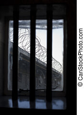 Prison Window View - A bleak and dismal view through a...