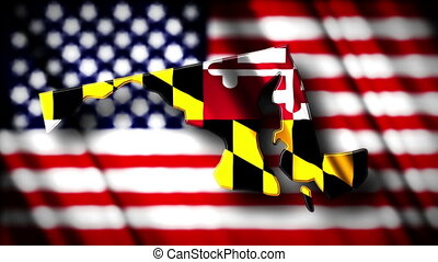 Maryland 03 - Flag of Maryland in the shape of Maryland...