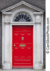 Colored door in Dublin from Georgian times 18th century - In...