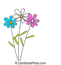 Three flowers - Cute flowers - vector card