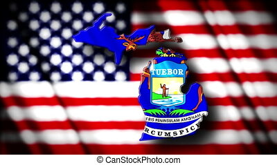 Michigan 03 - Flag of Michigan in the shape of Michigan...