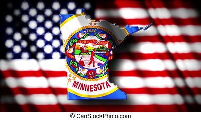 Minnesota 03 - Flag of Minnesota in the shape of Minnesota...