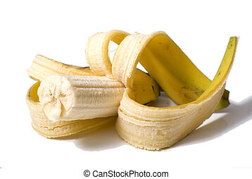 Half-eaten banana - Pealed banana with half eaten, half...