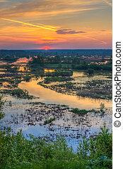 Beautiful Lake On Sunset